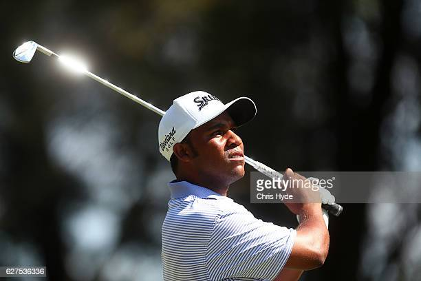 Harold Varner III of the USA tees off during day four of the 2016 Australian PGA Championship at RACV Royal Pines Resort on December 4, 2016 in Gold...