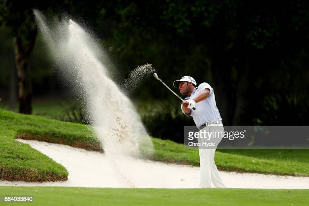 Harold Varner III plays from the bunker during day three of the 2017 Australian PGA Championship at Royal Pines Resort on December 2, 2017 in Gold...