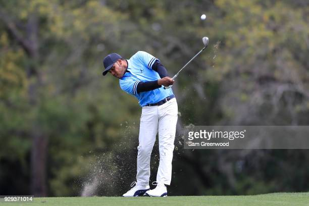 Harold Varner III plays his second shot on the seventh hole during the first round of the Valspar Championship at Innisbrook Resort Copperhead Course...