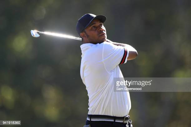 Harold Varner III plays his shot from the 17th tee during the second round of the Valspar Championship at Innisbrook Resort Copperhead Course on...