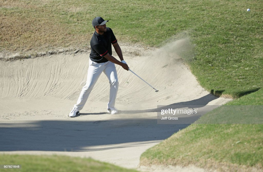 Harold Varner III plays his shot out of the bunker on the ninth hole during the third round of the CareerBuilder Challenge at the TPC Stadium Course at PGA West on January 20, 2018 in La Quinta, California.