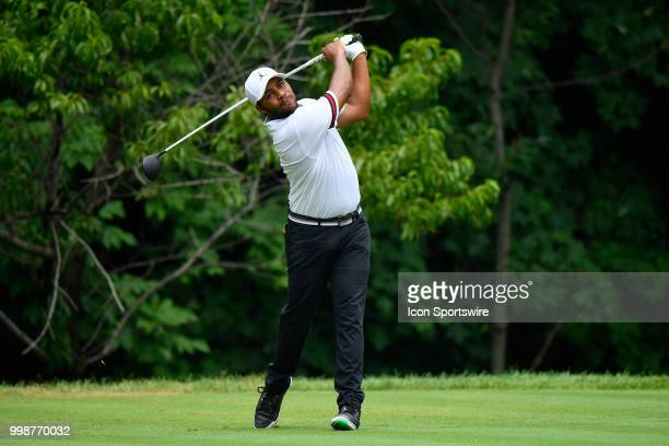 Harold Varner III plays his tee shot on the second hole during the third round of the John Deere Classic on July 14 2018 at the TPC Deere Run in...