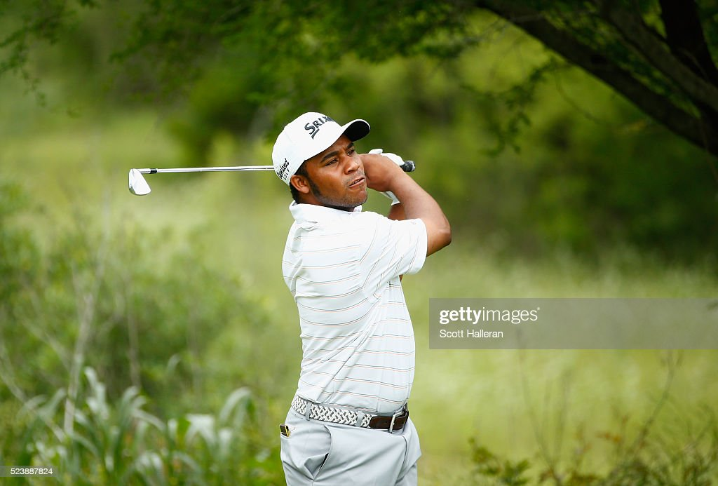 Harold Varner III takes his second shot on the seventh hole during the final round of the Valero Texas Open at TPC San Antonio AT&T Oaks Course on April 24, 2016 in San Antonio, Texas.