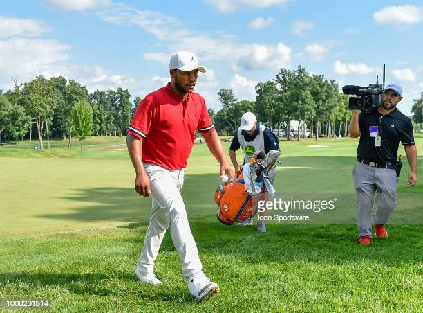 Harold Varner III walks off the 17th hole during the final round of the John Deere Classic on July 15 2018 at the TPC Deere Run in Silvis Illinois