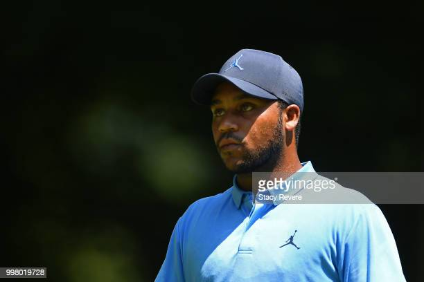Harold Varner III walks off the sixth tee during the second round of the John Deere Classic at TPC Deere Run on July 13 2018 in Silvis Illinois