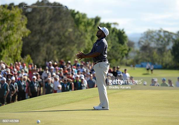 Harold Varner of the USA narrowly misses a putt on the 18th hole in a play off for first place during the 2015 Australian PGA Championship at Royal...