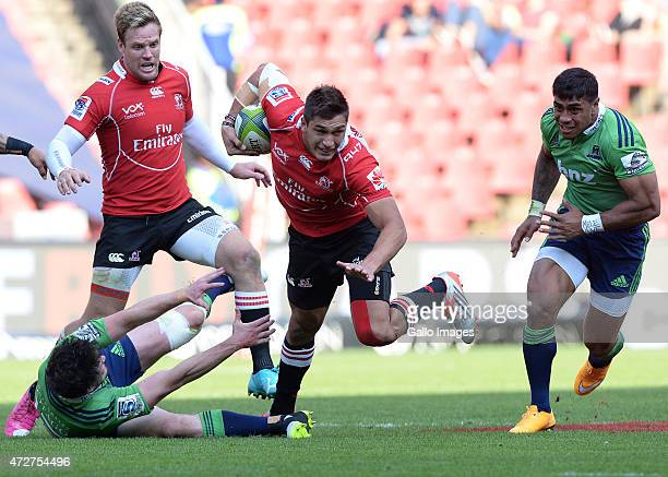 Harold Vorster of the Lions goes through the gap during the Super Rugby match between Emirates Lions and Highlanders at Emirates Airline Park on May...