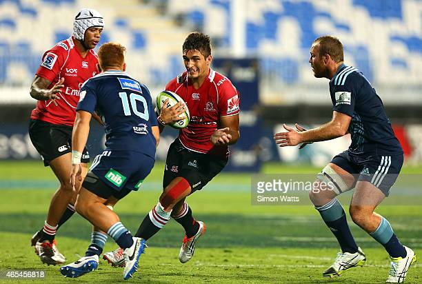 Harold Vorster of The Lions makes a break during the round four Super Rugby match between the Blues and the Lions at QBE Stadium on March 7 2015 in...