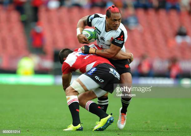 Harold Voster of Lions in action with Lemeki Lomano of Sunwolves during the Super Rugby match between Emirates Lions and Sunwolves at Emirates...