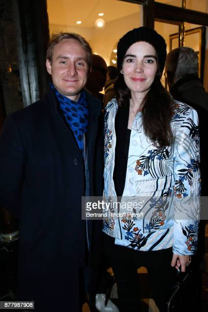 Harold Wilmotte and Charlotte Gaspard attend the Ligne Blanche Boutique Opening at Galerie VeroDodat on November 23 2017 in Paris France