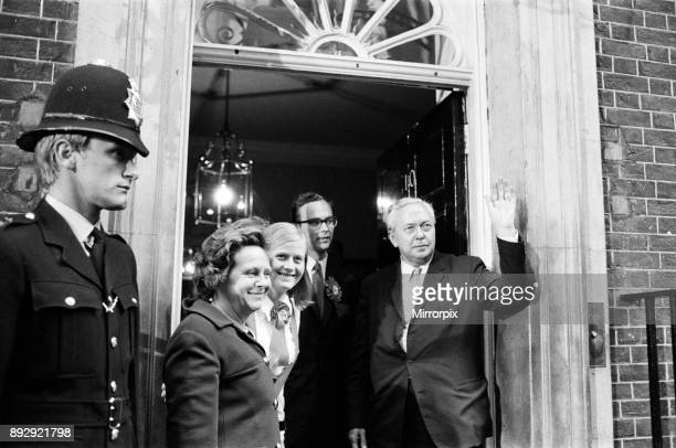 Harold Wilson and his wife Mary arrive back at No10 Downing Street met by their son Robin and his wife Joy 19th June 1970