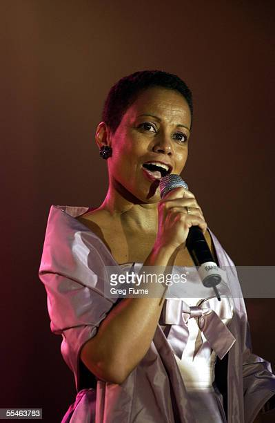 Harolyn Blackwell sings God Bless America at the USO Gala honoring General Richard B. Myers on September 14, 2005 at the Hilton Washington in...