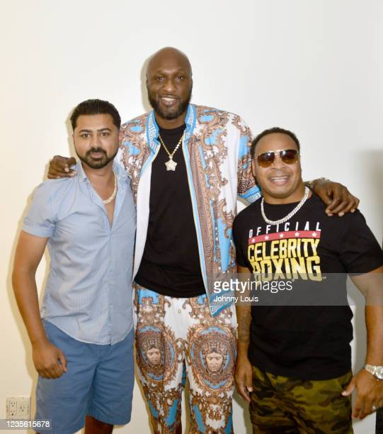 Haroon Kamal, Lamar Odom and Micah Khan attend the Celebrity Boxing Press Conference at James L. Knight Center on September 30, 2021 in Miami,...