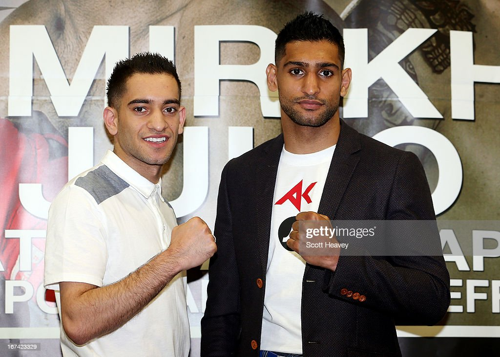 Haroon Khan and Amir Khan during a Press Conference at Mercure Sheffield St. Paul's Hotel & Spa on April 25, 2013 in Sheffield, England.