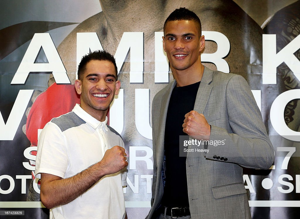 Haroon Khan and Anthony Ogogo during a Press Conference at Mercure Sheffield St. Paul's Hotel & Spa on April 25, 2013 in Sheffield, England.