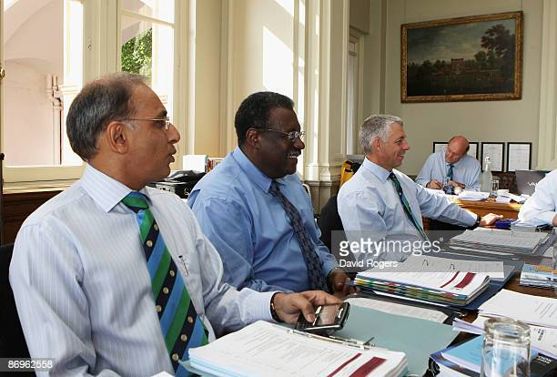 Haroon Lorgat Chief Exec of the ICC Clive Lloyd Chairman of the ICC Cricket Committee and David Richardson General ManagerCricket of the ICC during...