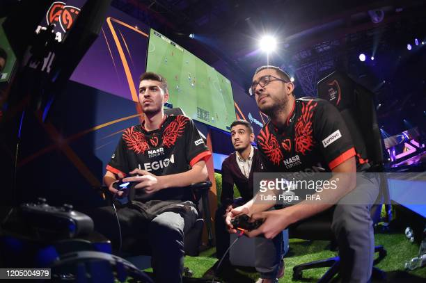 Haroun Yassin and Ramy Abdelaal of Nasr eSports team compete during Finals day of the the FIFA eClub World Cup 2020 - Day 3 on February 09, 2020 in...