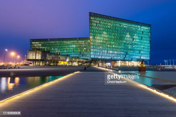 harp concert hall in reykjavik, iceland - reykjavik stock pictures, royalty-free photos & images