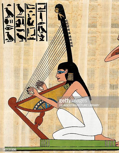 Harp player papyrus reconstruction of a fresco from the tomb of Rekhmire at Thebes original dating from the Dynasty XVIII Egyptian civilisation Cairo...