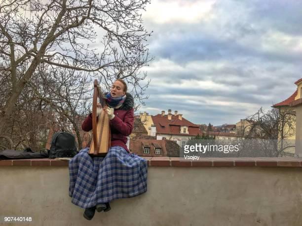harp solo at the prague's old castle stairs, prague castle, czech republic - vsojoy stockfoto's en -beelden