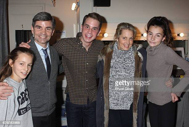 Harper Andrea Stephanopoulos George Stephanopoulos Ben Platt Alexandra Wentworth and Elliott Anastasia Stephanopoulos pose backstage at the hit...