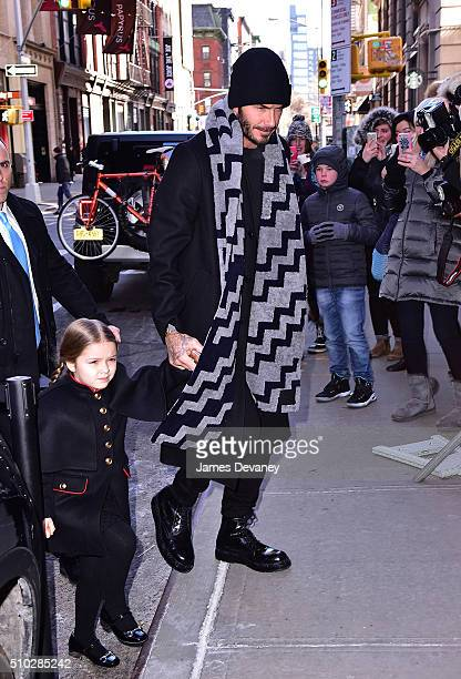 Harper Beckham and David Beckham arrive to Balthazar on February 14 2016 in New York City