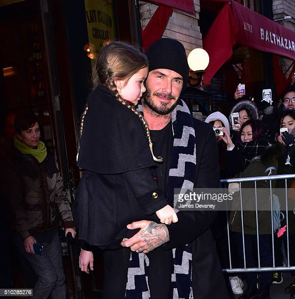 Harper Beckham and David Beckham leave Balthazar on February 14 2016 in New York City