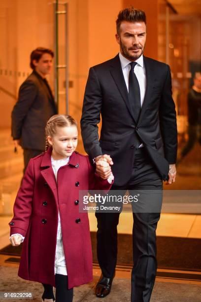 Harper Beckham and David Beckham seen on the streets of Manhattan on February 11 2018 in New York City