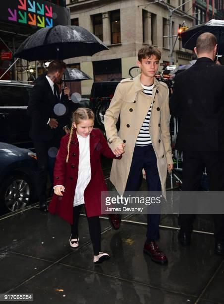 Harper Beckham and Romeo Beckham arrive to Balthazar on February 11 2018 in New York City