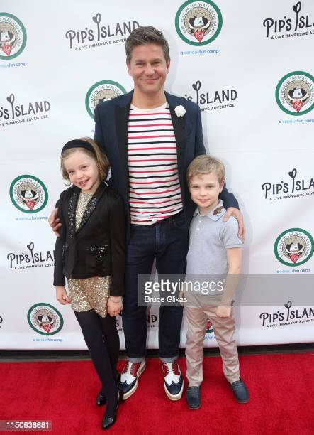 Harper Grace BurtkaHarris David Burtka and Gideon Scott BurtkaHarris pose at the opening night celebration for Pip's Island benefiting the Hole in...