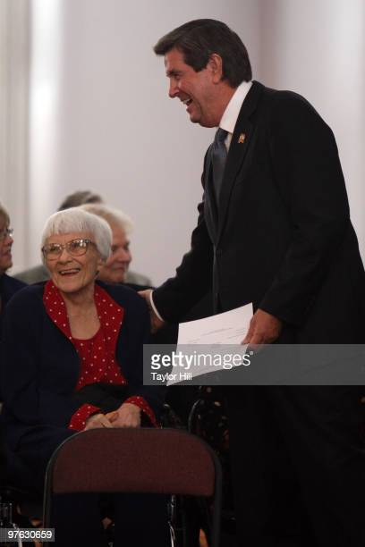 Harper Lee and Alabama Governor Bob Riley attend the 2009 Alabama Academy of Honor Inductions at the Old House Chambers on October 19, 2009 in...