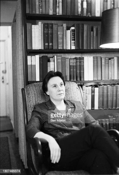 Harper Lee author of Pulitzer Prize-winning novel To Kill a Mockingbird photographed in her New York apartment, July 1960.