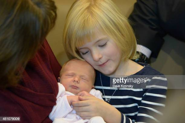 Harper Petitgoutvand and Nora Kara Kennedy departs AtlantiCare Regional Medical Center on November 21 2013 in Pomona New Jersey Daughter Nora Kara...