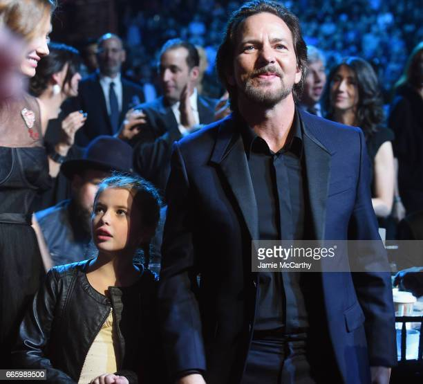Harper Vedder and 2017 Inductee Eddie Vedder of Pearl Jam attend the 32nd Annual Rock Roll Hall Of Fame Induction Ceremony at Barclays Center on...