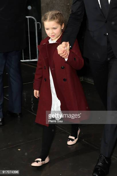 HarperBeckham comes out of 'Balthazar' restaurant where the Beckham family had lunch after Victoria Beckham's show on February 11 2018 in New York...