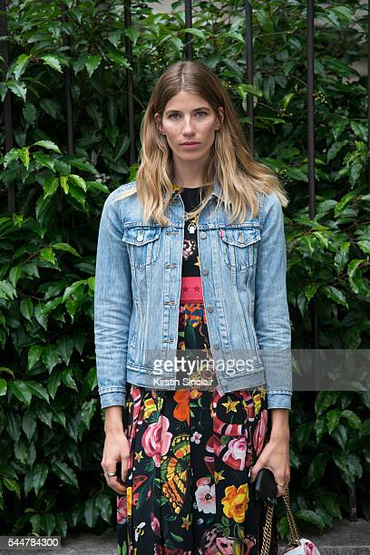 Harpers Bazaar Germany Style Editor Veronika Heilbrunner wears a Levis jacket Gucci dress and Gucci bag on day 1 of Paris Haute Couture Fashion Week...