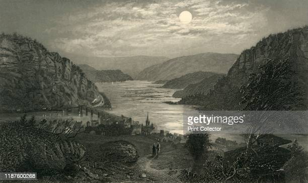 Harper's Ferry by Moonlight' 1872 View of Harpers Ferry West Virginia USA a town situated on the confluence of the Potomac and Shenandoah Rivers From...