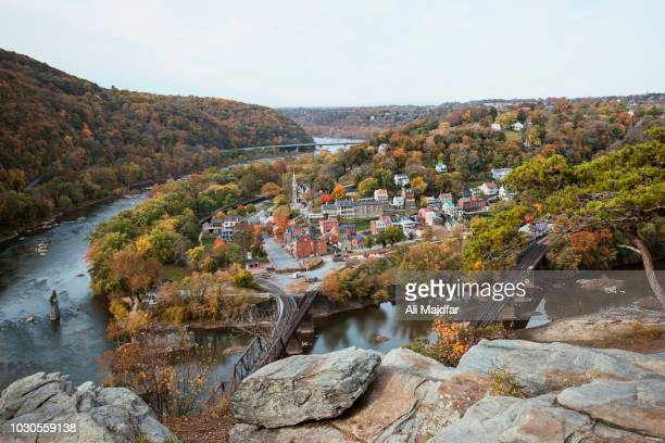 harpers ferry view from maryland heights - appalachian trail stock pictures, royalty-free photos & images