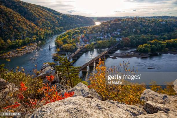 harpers ferry view from maryland heights - national landmark stock pictures, royalty-free photos & images