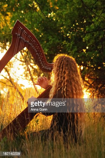 harpist with long hair plays celtic harp outdoors stock