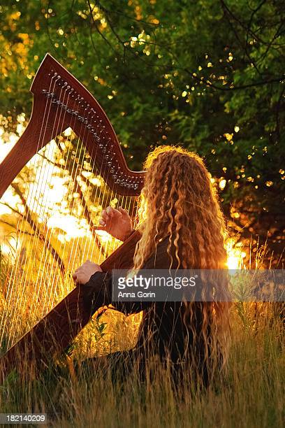 Harpist with long hair plays Celtic harp outdoors