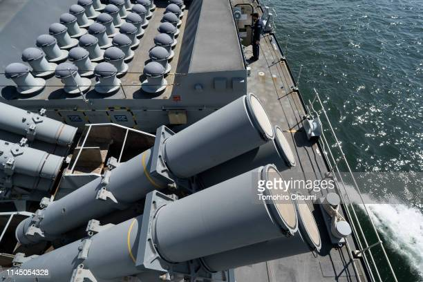 Harpoon missile lunchers are seen on board British Royal Navy's HMS Montrose frigate as it sails to a joint exercise with Japanese Maritime...