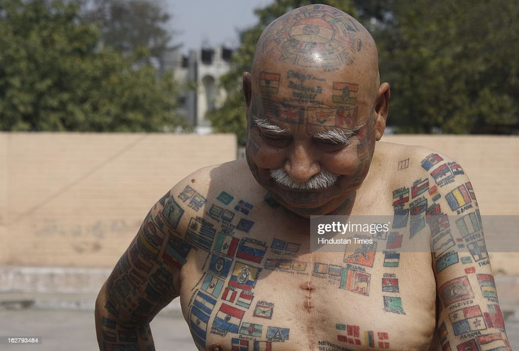 Harprakash Rishi, alias Guinness Rishi, a Delhi based world record holder who has covered his whole body & face with permanent tattoos including flags of different countries, participated in the Record Breakers Festival organised by India Book of Records at Indira Gandhi Kala Kendra, Sector 06 on February 27, 2013 in Noida, India. The one day Record Breakers Festival saw the breaking of 101 different amazing records including longest Moustache, Most permanent tattoos on body & Shortest actor.
