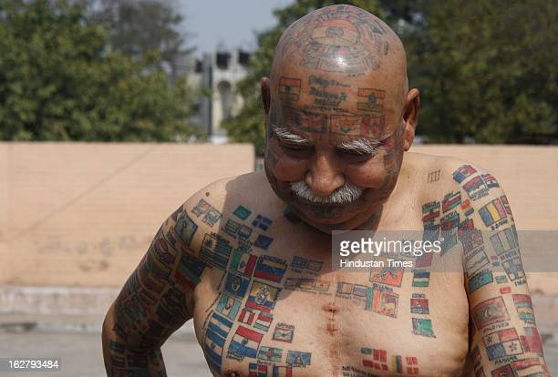 Harprakash Rishi alias Guinness Rishi a Delhi based world record holder who has covered his whole body face with permanent tattoos including flags of...