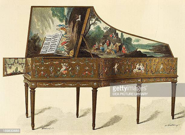 Harpsichord decorated with grotesques engraving from Dictionary of Furniture and Decoration by Henry Havard Volume I 1878 France 18th century