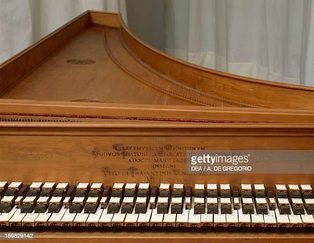 Harpsichord made by Vitus de Trasuntinis for Camillo Gonzaga Count of Novellara Detail Italy 17th century Bologna Museo Civico Medievale