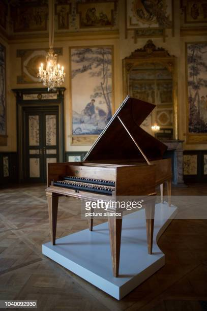 A harpsichord made out of pine walnut oak and pear with a keyboard made out of ebony and ivory in the Bergpalais in Pillnitz Palace in Dresden...