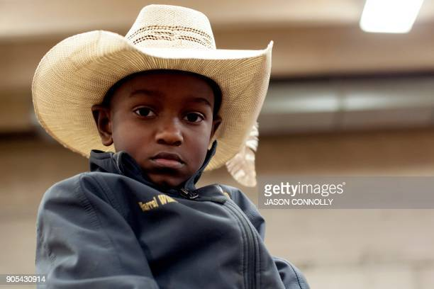 Harrel Williams Jr of Prairie View Texas poses for a portrait during the MLK Jr African American Heritage Rodeo at the National Western Stock Show in...