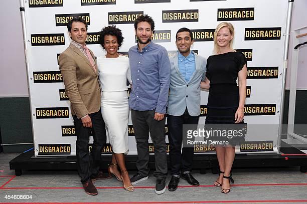 Harri Dhillon Karen Pittman Josh Radnor Danny Ashok and Gretchen Mol attend the Broadway's Disgraced Cast Photocall at Ripley Greer Studios on...