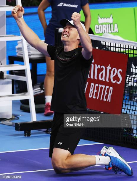 Harri Heliovaara of Finland celebrates after winning with his partner Matwe Middelkoop of the Netherlands the men's doubles final match against...